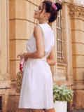 Платье-трапеция из льна со встречной складкой по полочке бежевое 54386, фото 4