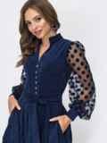 Тёмно-синее платье с рукавами из сетки в горох 45093, фото 4