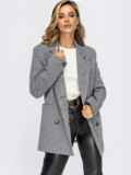 Двубортный пиджак из фактурного жаккарда серый 55249, фото 2