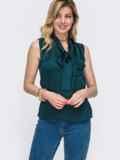 Блузка зеленого цвета с воротником-аскот 48424, фото 1