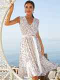Платье молочного цвета без рукавов с V-образным вырезом 54251, фото 1