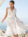 Платье молочного цвета без рукавов с V-образным вырезом 54251, фото 2