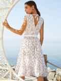 Платье молочного цвета без рукавов с V-образным вырезом 54251, фото 5