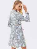 Бирюзовое платье с принтом и юбкой-трапецией 53365, фото 3