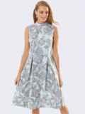Принтованное платье с бантовыми складками на юбке бирюзовое 53366, фото 4