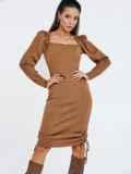 Бежевое платье мелкой вязки с кулисками по бокам 53026, фото 2