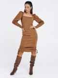 Бежевое платье мелкой вязки с кулисками по бокам 53026, фото 3