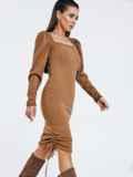 Бежевое платье мелкой вязки с кулисками по бокам 53026, фото 4
