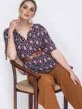 Черная блузка свободного кроя с принтом 48413, фото 1