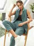 Льняной костюм из жилета и укороченных брюк зеленый 54185, фото 3