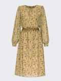 Платье из шифона с принтом и расклешенной юбкой оливковое 54807, фото 4