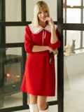 Трикотажное платье-трапеция со съёмным воротником красное 53327, фото 4