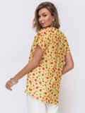 Желтая блузка свободного кроя с принтом 50075, фото 2
