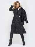Чёрное платье в горох с воротником-аскот и юбкой-плиссе 44827, фото 4