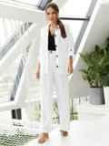 Костюм из рубашки со шлевками на рукавах и брюк белый 54127, фото 4