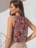 Шифоновая блузка с принтом и бантом на спинке красная 49104, фото 4