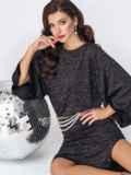 Платье с нитью люрекса и рукавом-колокол черное 52073, фото 4