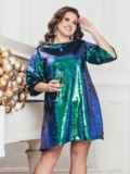 Зелёное платье с пайетками на полочке и рукавах 43286, фото 2