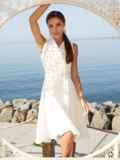 Платье молочного цвета на запах с удлиненной спинкой 54331, фото 1
