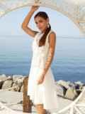 Платье молочного цвета на запах с удлиненной спинкой 54331, фото 2