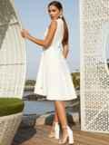 Платье молочного цвета на запах с удлиненной спинкой 54331, фото 3