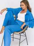 Синий костюм из брюк и удлиненной рубашки 54837, фото 1