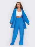 Синий костюм из брюк и удлиненной рубашки 54837, фото 3
