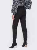 Зауженные брюки-джоггеры с резинкой по низу черные 51960, фото 2