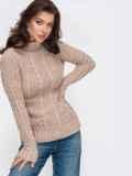 Бежевый свитер плотной вязки с косами и воротником-стойкой 51920, фото 2