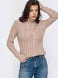 Бежевый свитер плотной вязки с косами и воротником-стойкой 51920, фото 3