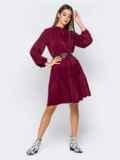 Бордовое платье с воротником-аскот и многоярусной юбкой 41009, фото 2