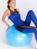 Комплект для фитнеса синего цвета из топа и лосин 44710, фото 1