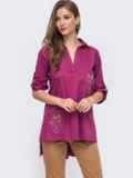 Розовая рубашка с вышивкой на карманах и удлиненной спинкой 49462, фото 2