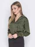 Шелковая рубашка зеленого цвета с принтом 40254, фото 2