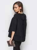 Черная шифоновая блузка с двухъярусным низом 12423, фото 2