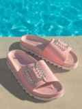 Розовые шлепанцы с белой рельефной подошвой  49747, фото 2