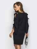 Черное платье с завязками на рукавах 13517, фото 3