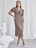 Приталенное платье бежевого цвета с V-образным вырезом 50051, фото 3