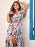 Шифоновое платье батал с принтом и резинкой по талии белое 54456, фото 1