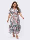 Шифоновое платье батал с принтом и резинкой по талии белое 54456, фото 2
