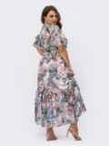 Шифоновое платье батал с принтом и резинкой по талии белое 54456, фото 4
