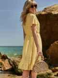 Желтое платье из прошвы с резинкой по талии 48228, фото 2