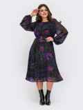 Шифоновое платье батал с принтом и завышенной талией черное 55561, фото 3
