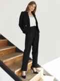 Брючный костюм с укороченным пиджаком черный 55059, фото 2