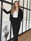 Брючный костюм с укороченным пиджаком черный 55059, фото 3