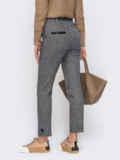 Серые укороченные брюки из жаккарда со стандартной посадкой 52403, фото 2
