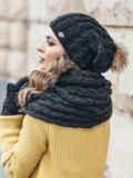 Черный комплект узорной вязки с бубоном на шапке 15556, фото 3
