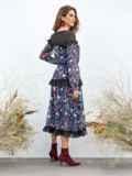 Приталенное платье из шифона с принтом и рюшами чёрное 40938, фото 2