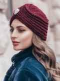 Бордовая шапка-чалма крупной вязки 40360, фото 2