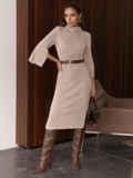 Платье приталенного силуэта с поясом бежевое 55665, фото 4